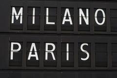 París y Milano - aeropuerto Foto de archivo libre de regalías