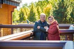 parę miłości senior szczęśliwy Park outdoors zdjęcie stock