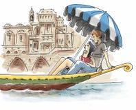 Par är på gondolen royaltyfri illustrationer