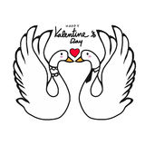 Par łabędź kochanka całowania kreskówki ilustracja Fotografia Royalty Free
