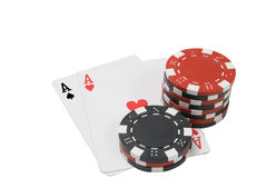 Par of aces. A par of aces and some poker chips Royalty Free Stock Images