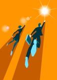 Par av affärsmän framgång till långt stock illustrationer