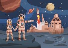 Par av astronaut observera den främmande planeten med utrymmekolonin och lansera starships på bakgrunden Utrymmeresande vektor illustrationer