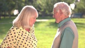 Par av att argumentera för pensionärer stock video