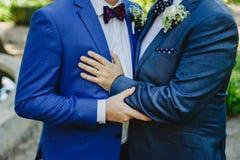 Par av bögar som får som lyckligt att gifta sig arkivfoto