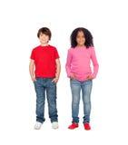 Par av barn Arkivfoton