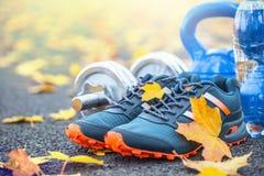 Par av blåa sportskor bevattnar och hantlar som läggas på en bana i en trädhöstgränd med lönnlöv - tillbehör för körd exerc royaltyfri bild