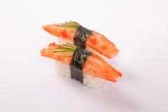 Par av den Crabstick sushi Royaltyfria Bilder