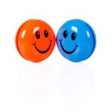 Par av färgrika smileys Arkivfoton