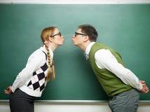 Par av förälskade nerds Arkivbild