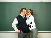 Par av förälskade nerds Arkivfoto