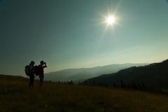 Par av fotvandrare Fotografering för Bildbyråer