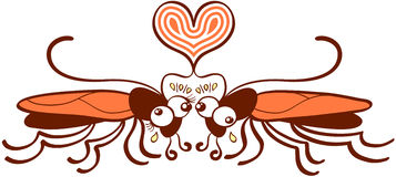 Par av fult falla för kackerlackor som konstigt är förälskat stock illustrationer