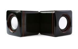 Par av glansiga solida högtalare som isoleras över den vita bakgrunden Arkivbilder