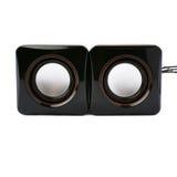 Par av glansiga solida högtalare som isoleras över den vita bakgrunden Royaltyfri Fotografi
