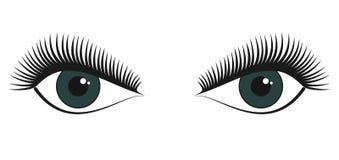 Par av gröna kvinnliga härliga stilized ögon vektor illustrationer