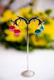 Par av härliga silverörhängen med gemstones på den naturliga bakgrunden Fotografering för Bildbyråer