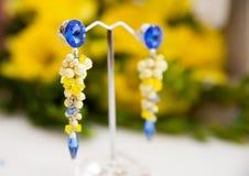Par av härliga silverörhängen med gemstones på den naturliga bakgrunden Royaltyfria Bilder