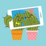 Par av kaktuns som tar selfie stock illustrationer
