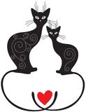Par av katter vektor illustrationer