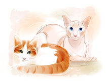 Par av katter på vattenfärgbakgrunden Ljust rödbrun katt stock illustrationer