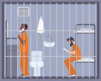 Par av män i fängelse, arrest eller interneringsanstaltrum Två fångar eller brottslingraka och läsebok i cell manlig royaltyfri illustrationer