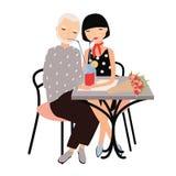 Par av man- och kvinnasammanträde på tabellen och drickacoctailen med sugrör tillsammans Par på romantiskt datum eller möte vektor illustrationer