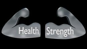 Par av muskulösa armöversikter i metall med vård- `- och `-styrka` för ` som är skriftlig på dem Arkivbild