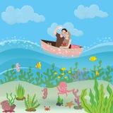 Par av pojkvännen och flickvännen som rider det lilla fartyget Selfie folk som tycker om ferie och delar ögonblick under vatten stock illustrationer
