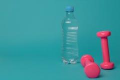 Par av rosa färger 1 kg hantlar på blå bakgrund Fotografering för Bildbyråer