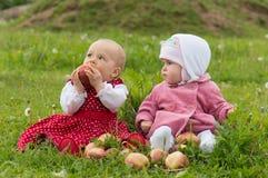 Par av spädbarnungar med äpplen Fotografering för Bildbyråer