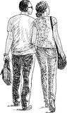 par av stadsbor på en promenad royaltyfri illustrationer