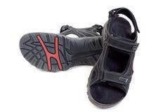 Par av svart man lädersandals Royaltyfri Fotografi