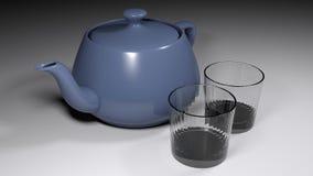 Par av tomma exponeringsglas nära en blå keramisk karaff - illustration för tolkning 3D vektor illustrationer