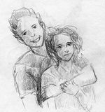 Par av tonår Arkivbilder