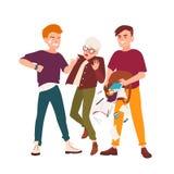Par av tonår som skrämmer pojken och att sparka honom och att skaka saker ut ur påse Pennalism och missbruk på skola cartoon stock illustrationer