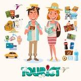 par av turisten med grejen för lopp teckendesign - Arkivfoto