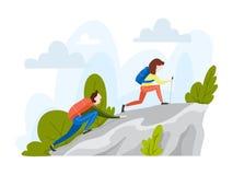 Par av turisten med ryggsäcken som klättrar berget vektor illustrationer