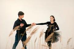 Par av unga balettdansörer utför utomhus- in Royaltyfri Bild