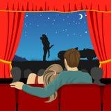 Par av vänner som håller ögonen på romantisk film i bioteater stock illustrationer