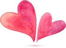Par av vattenfärgen målade hjärtor, beståndsdelar för Arkivbild