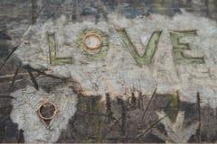 Par av vigselringar på ett trä med inskriftförälskelsen royaltyfri fotografi