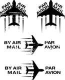 Par Avion Rubber stamp 02. Par Avion or air mail rubber stamps. Grunge and clean  illustration Royalty Free Stock Images