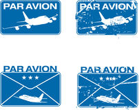 Par Avion Rubber stamp 03. Par Avion or air mail rubber stamps. Grunge and clean  illustration Stock Photo