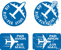 Par Avion Rubber stamp 03. Par Avion or air mail rubber stamps. Grunge and clean  illustration Stock Photography