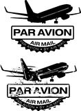Par Avion Rubber stamp. Par Avion or air mail rubber stamps. Grunge and clean vector illustration Royalty Free Stock Photography