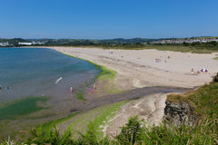 Par beach Cornwall England near St Austell and Polkerris with blue sea and sky Stock Photos