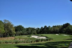 Beautiful golf hole from the tee box. Beautiful par 3 from the tee box Royalty Free Stock Photo