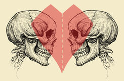 Par czaszki i Kierowy symbol z nożyce Ciącą linią Obrazy Royalty Free