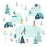 Par des glaces Campagne avec des tentes dans la forêt illustration de vecteur